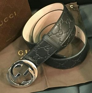 Black GG signature belt